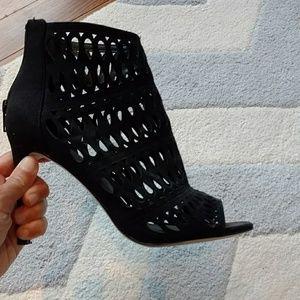 Aldo black peep-toe ankle booties 6.5